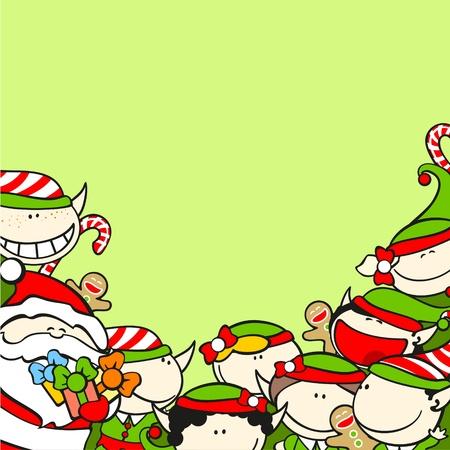 risas: Fondo de Navidad con Santa Claus y los duendes