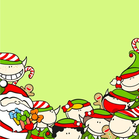 Christmas background with Santa Claus and elves