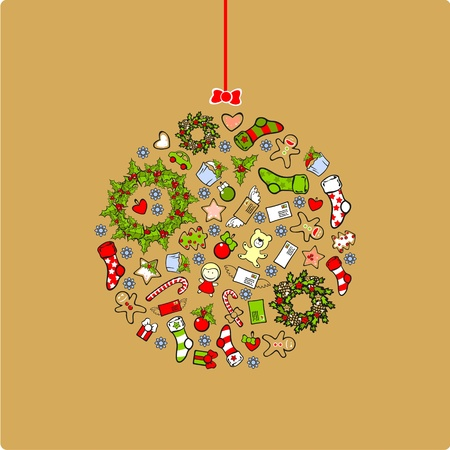 Christmas ball consisting of holiday elements and symbols Vector