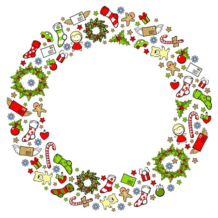 Christmas wreath consisting of holiday elements and symbols Illustration