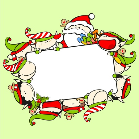Christmas frame with Santa Claus and elves Vector
