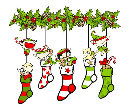 Christmas stockings filled with presents and elves Vector