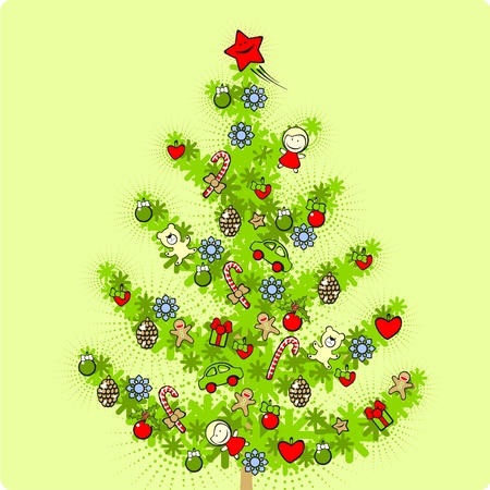 Illustration of a decorated Christmas tree Vector