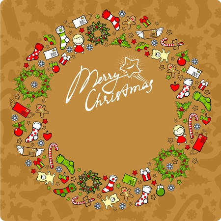 Christmas card with a festive wreath consisting of holiday elements and symbols Vector