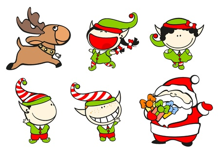 Set of images of funny kids on a white background #61, Santa Claus and his team