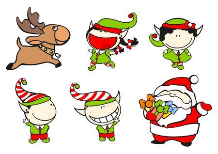 cartoon elfe: Set Bilder von lustigen Kinder auf einem wei�en Hintergrund # 61, Santa Claus und sein Team