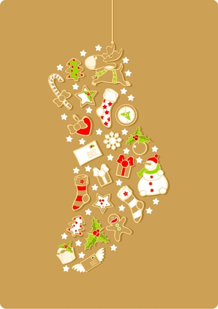 Christmas stocking silhouette consisting of holiday elements and symbols
