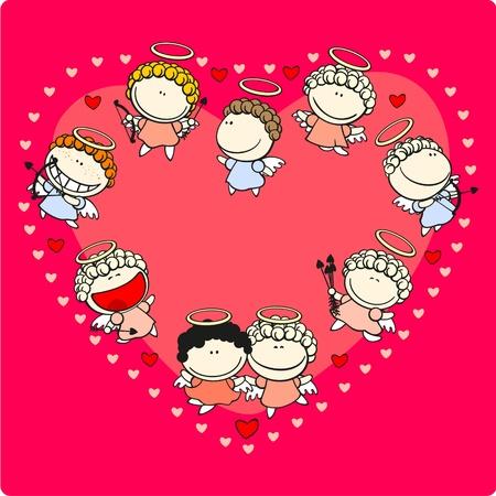 D�a de San Valent�n tarjeta con cupidos