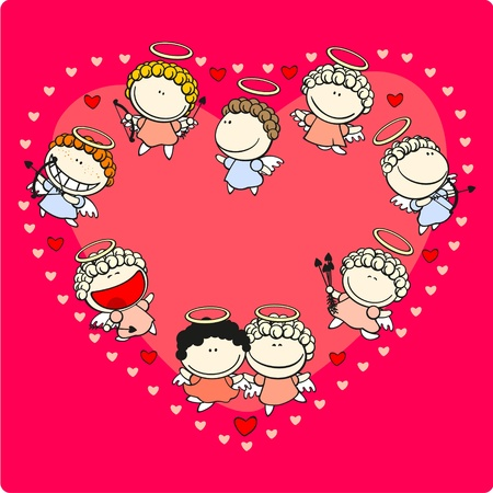 Valentine Day card with cupids