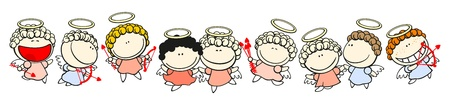 Set of images of funny kids on a white background #64, dancing cupids
