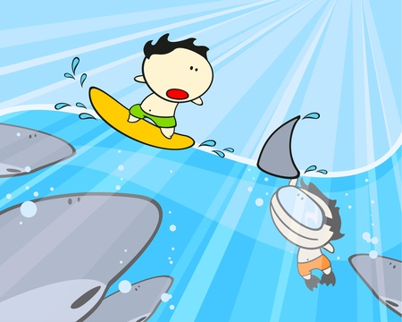 Sharks, diver and his friend surfer Stock Vector - 11980926