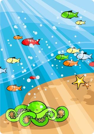 peces caricatura: La vida al mar