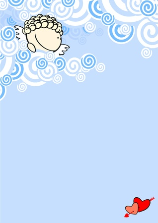 Background with a cute cupid Vector