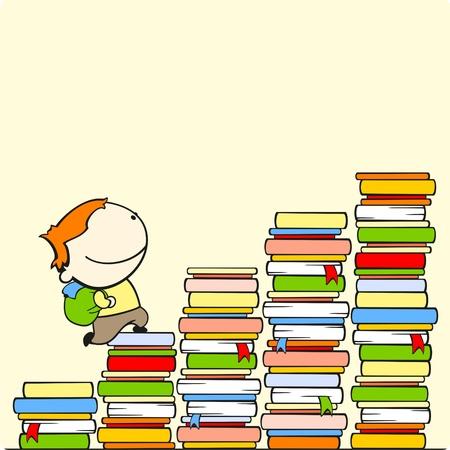 Boy courir vers le haut de l'escalier de la connaissance
