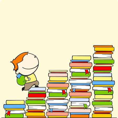 levels: Boy running to the top of stairs of knowledge