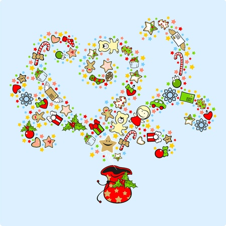 Magic bag of Santa Claus, filled with presents Vector