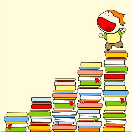 progress steps: Boy on the top of stairs of knowledge