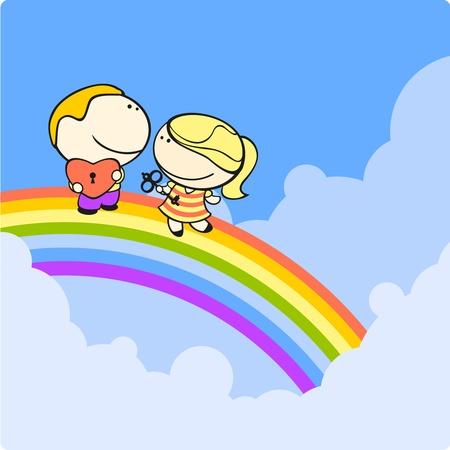 cartoon rainbow: Pareja en un arco iris