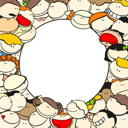 Background with funny kids, round Illustration