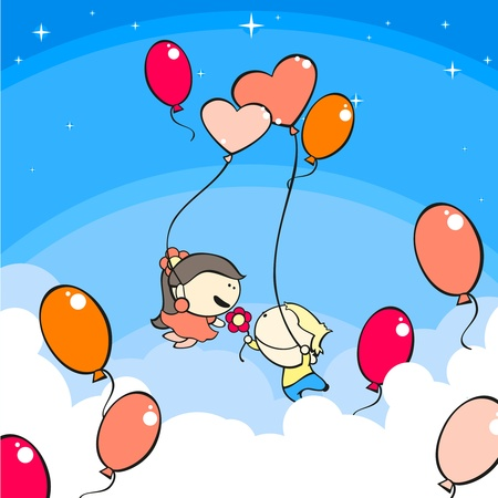 Couple in the air with balloons Vector