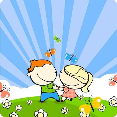 Couple in love dancing on a meadow Vector