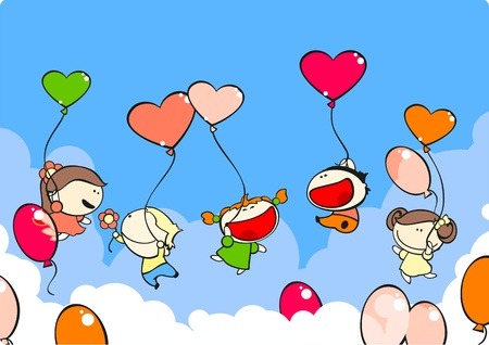 Funny kids in the air with balloons Vector