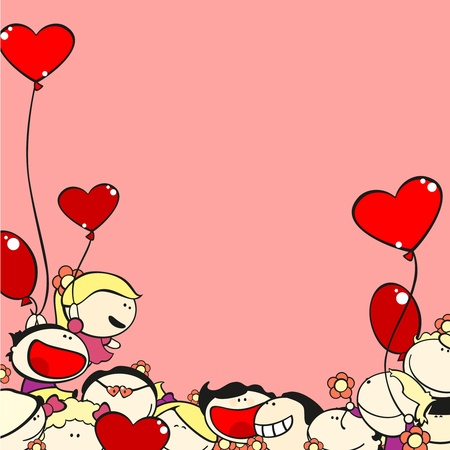 banner of peace: Valentine Day card with kids and balloons
