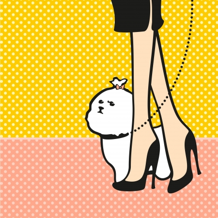 Lady and her dog Ilustrace
