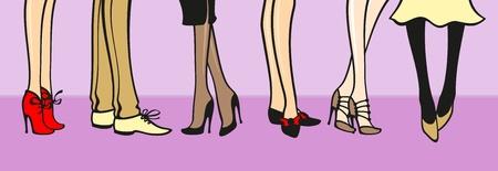 young girl feet: Fashion illustration Illustration