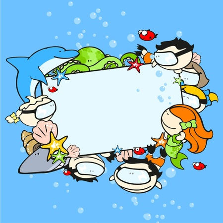 Background with cute underwater world explorers Vector