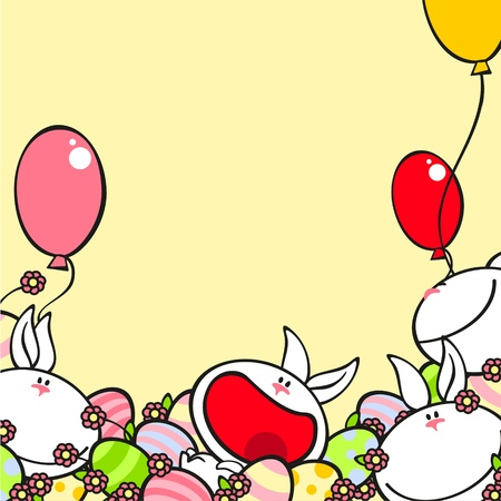 Background with cute rabbits Vector