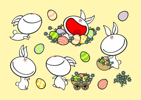 waggon: Set of cute rabbits