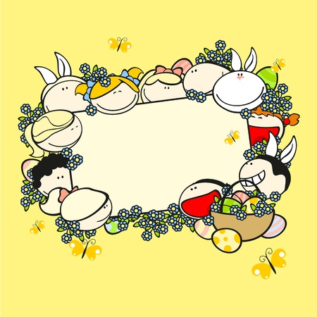 Background with funny kids, flowers, eggs and rabbit Vector