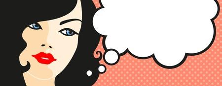 mujer pensando: Banner con rostro de mujer y la burbuja de pensamiento Vectores