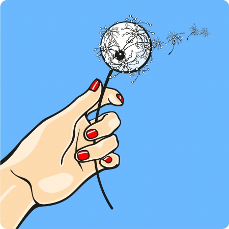 manicure: Female hand holding a dandelion