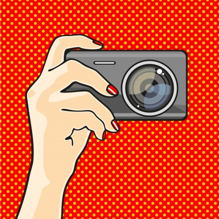 pop: Illustration of a hand holding a photo camera