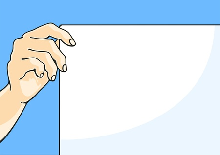 Illustration of a hand holding a paper sheet Vector