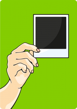 Illustration of a hand holding a photo Vector