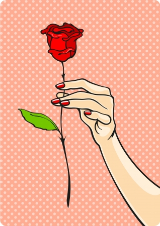 finger nails: Rose in a hand