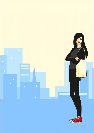 dia y noche: Chica en la ciudad Vectores