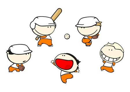 Set of images of funny kids #65, baseball theme Vector