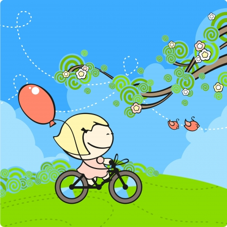Girl on a bicycle Stock Vector - 14357357