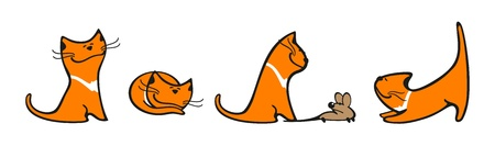 Set of images of a cat Vector