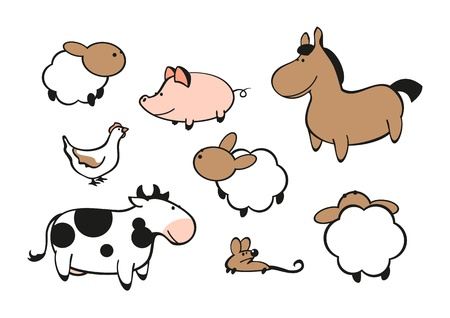 cow illustration: Farm animals