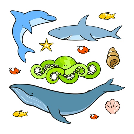 Sea animals Stock Vector - 14828118