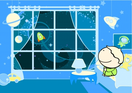 cartoon window: Little future astronaut Illustration