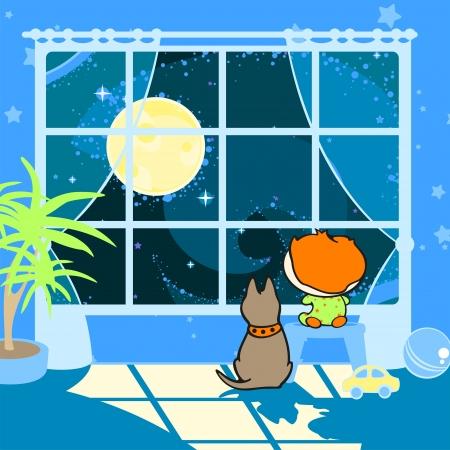 child bedroom: Un ni�o y un perro en un sue�o luz de la luna Vectores