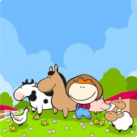 pollo caricatura: Agricultor lindo y sus animales