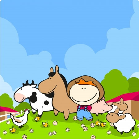 Cute farmer and his animals Vector