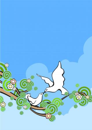 bird fly: Birds couple in love